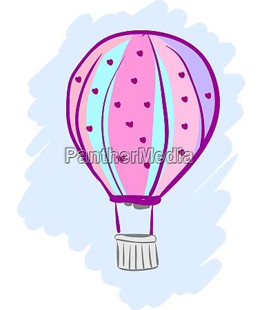 a, pink, hot, air, balloon, , vector - 27515648
