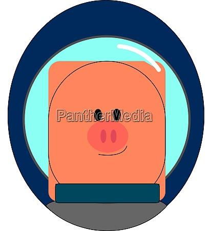 cosmonaut piggy illustration vector on white
