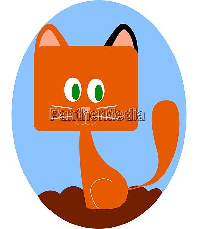 cute ginger kitty illustration vector on