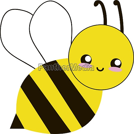 happy bee flying illustration vector on