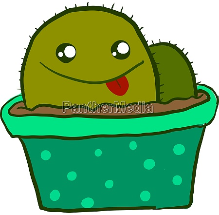 happy cactus in pot illustration vector