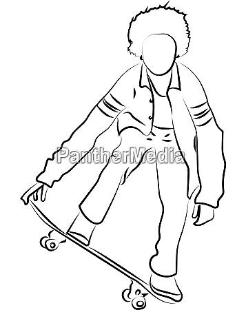 boy skating illustration vector on white