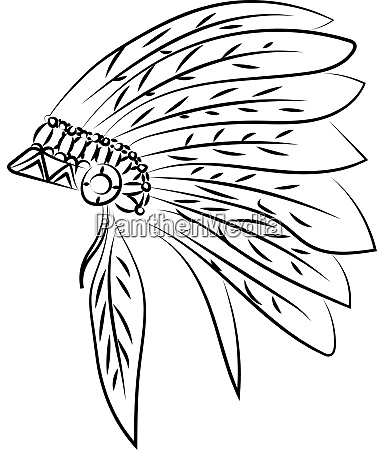 indian hat drawing illustration vector on