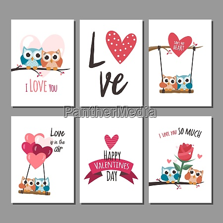 valentine owls in love cards