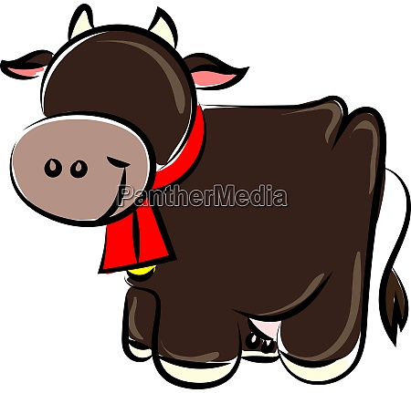 happy cow illustration vector on white