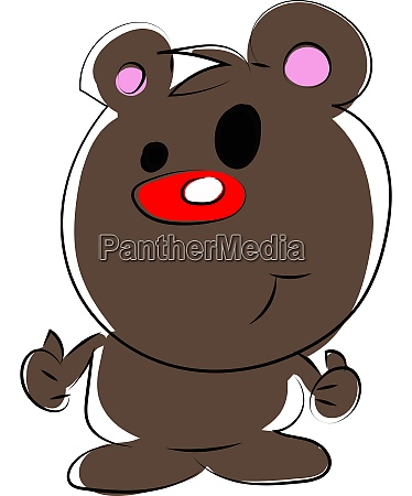 cute bear with red nose illustration