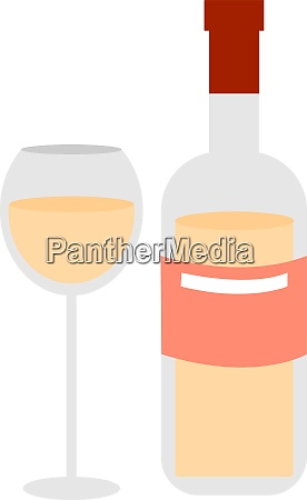 bottle of white wine illustration vector