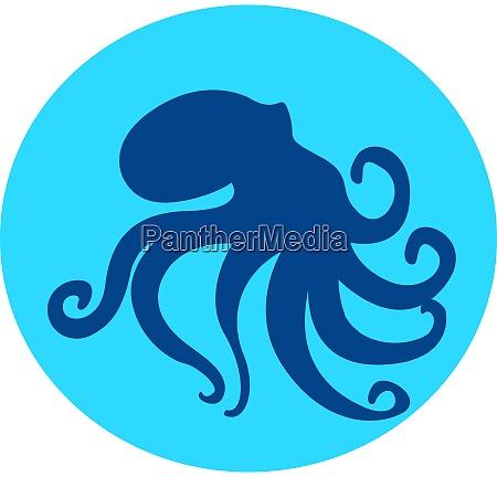 blue octopus illustration vector on white