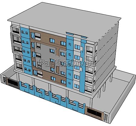 blue residential building illustration vector on
