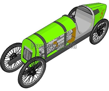 green antique car illustration vector on