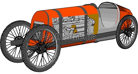 red antique car illustration vector on