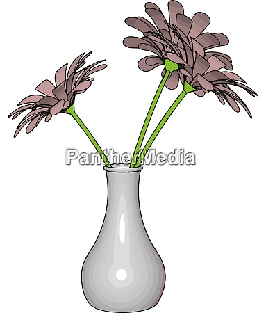 white vase with flowers illustration vector
