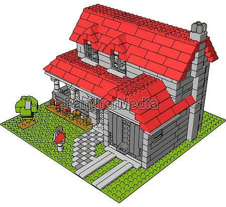 house of bricks illustration vector on