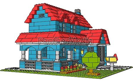 house of multicolor bricks illustration vector