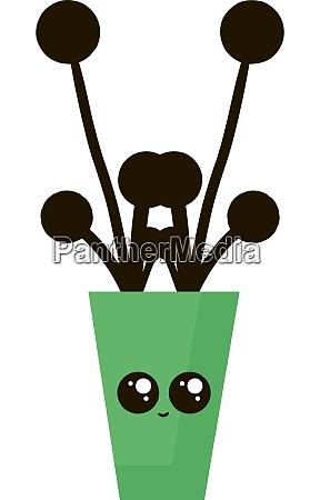 cute flower pot illustration vector on