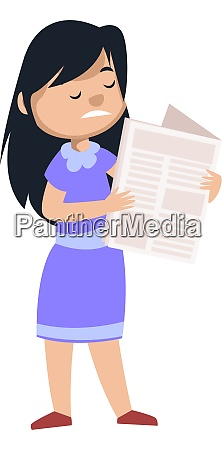 girl reading newspaper illustration vector on