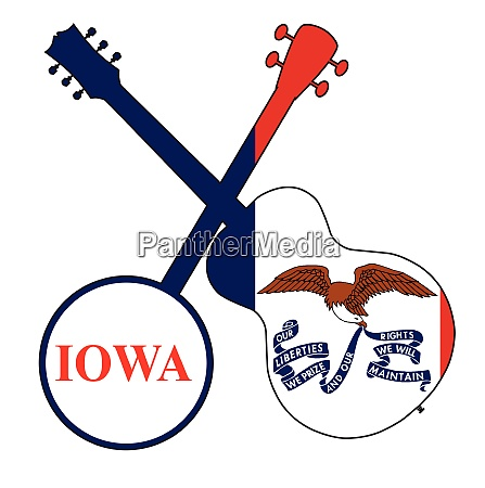 iowa state flag banjo and guitar