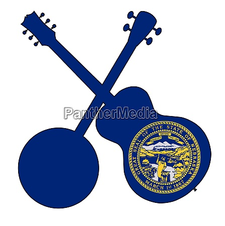 nebraska state flag banjo and guitar