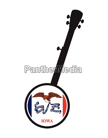 banjo silhouette with iowa state flag