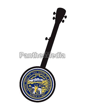 banjo silhouette with nebraska state seal