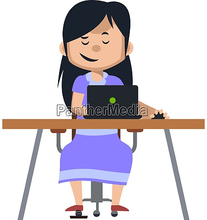 girl working on laptop illustration vector
