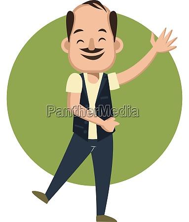 happy man waving illustration vector on