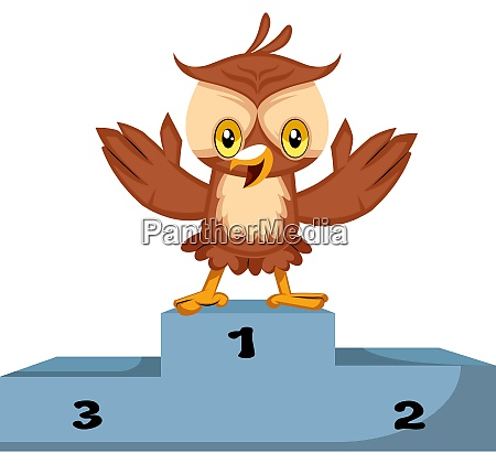 owl is winner illustration vector on