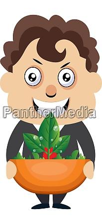 man holding plant illustration vector on