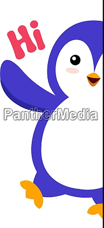 penguin saying hi illustration vector on