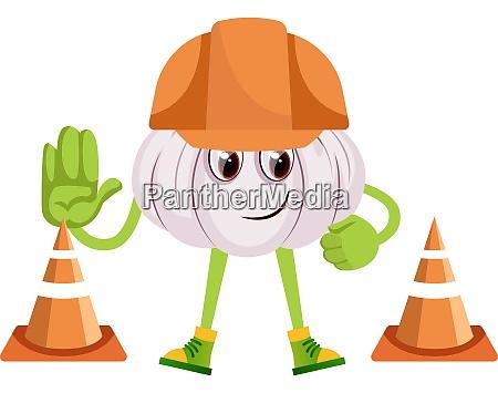 garlic at construction yard illustration vector