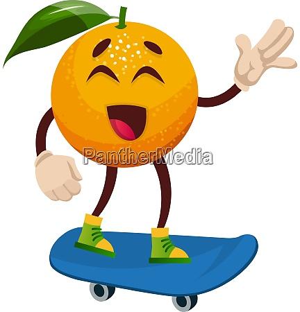 orange on skateboard illustration vector on