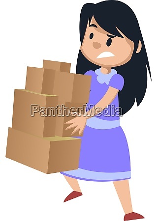 girl, holding, boxes, , illustration, , vector, on - 27522076