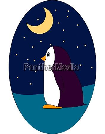 purple penguin in the night illustration