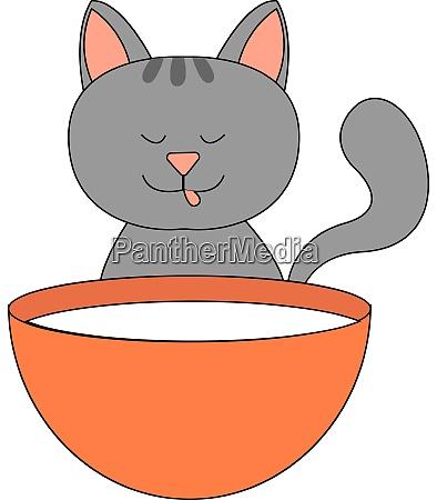 kitty drinking milk illustration vector on