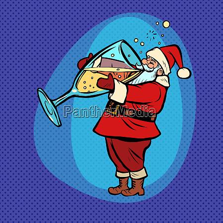 santa claus drinks champagne comic cartoon
