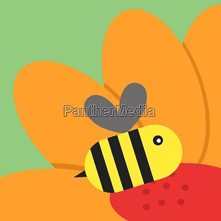 bee on flower illustration vector on
