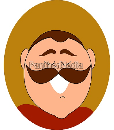 mustache man smiling illustration vector on