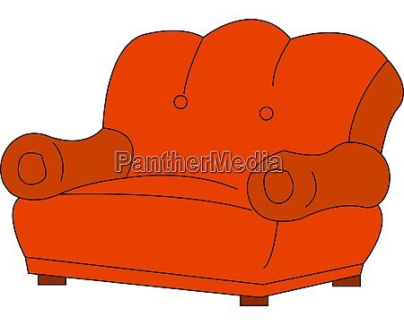 red sofa illustration vector on white