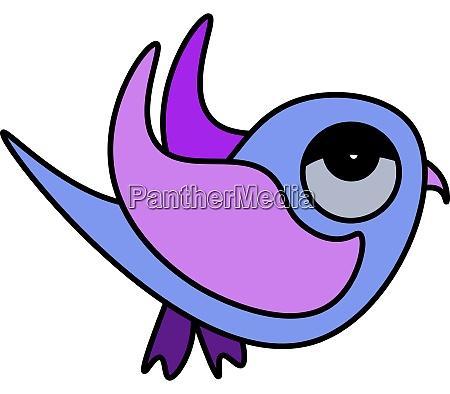 purple tired bird illustration vector on