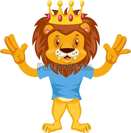 scared lion illustration vector on white