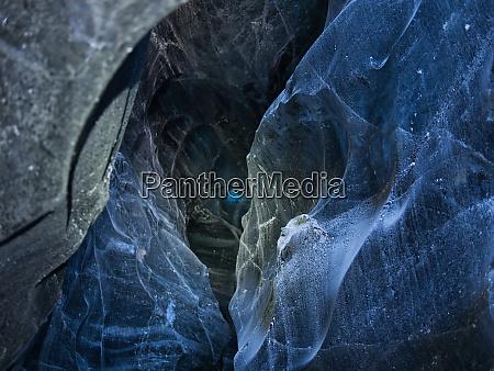 illuminated ice in a blue glacier