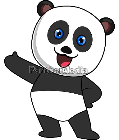 happy panda illustration vector on white