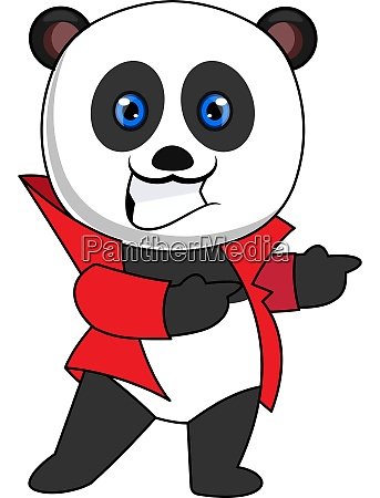 panda with red jacket illustration vector