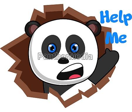 panda asking for help illustration vector