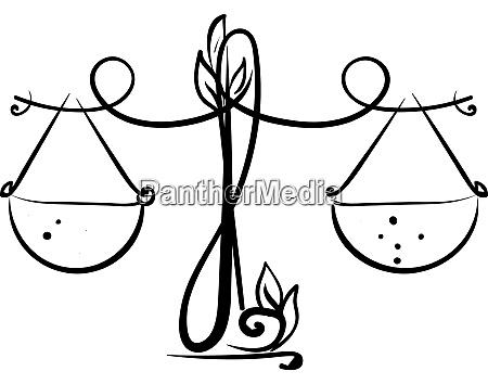 libra drawing illustration vector on white