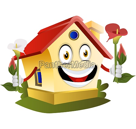 house is holding flowers illustration vector