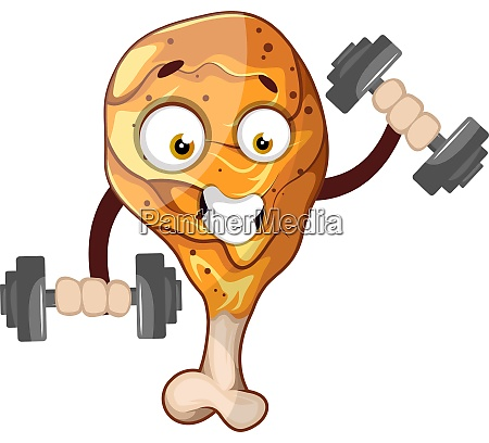 strong chicken drumstick weightlifting illustration vector