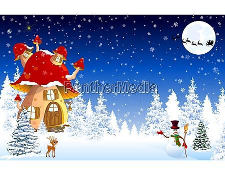 mushroom, house, snow, trees, night, christmas - 27524529