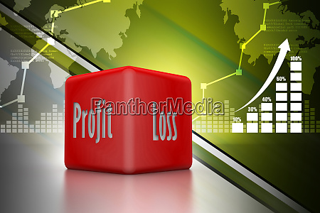 business dice showing profit and loss