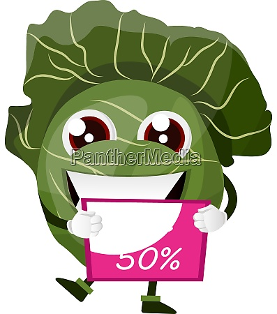 cabbage is holding 50 coupon illustration